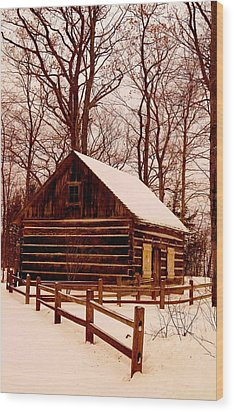 The Log Cabin At Old Mission Point Wood Print