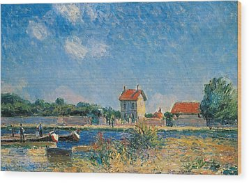 The Loing Canal At Saint-mammes Wood Print by Alfred Sisley