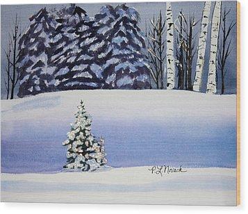 The Lone Christmas Tree Wood Print by Patricia Novack