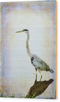 Wood Print featuring the digital art The Lone Crane by Davina Washington