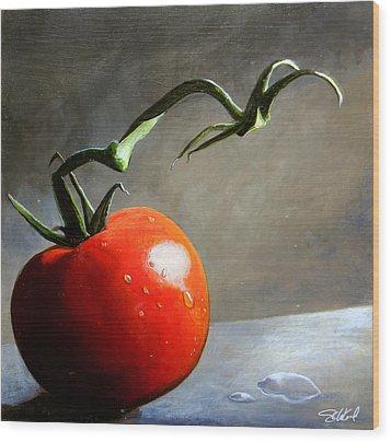The Lone Tomato Wood Print