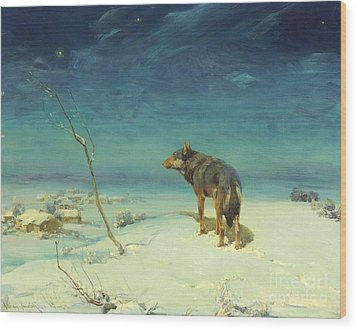 The Lone Wolf Wood Print by Pg Reproductions