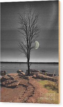 The Lonely Tree Wood Print by Betty LaRue
