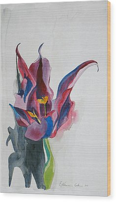 The Lonely Tulip Wood Print by Esther Newman-Cohen
