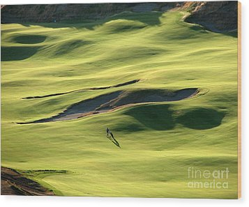 Wood Print featuring the photograph The Long Green Walk - Chambers Bay Golf Course by Chris Anderson