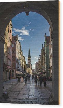 The Long Lane In Gdansk Seen From The Golden Gate Wood Print by Adam Budziarek