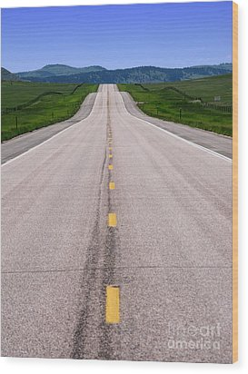 The Long Road Ahead Wood Print by Olivier Le Queinec