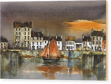 The Long Walk Sunset Galway Citie Wood Print