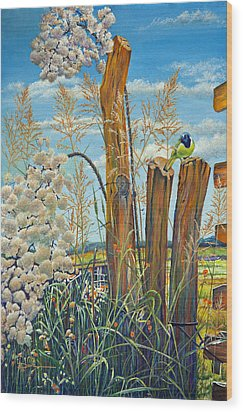 The Lookout Texas Green Jay Wood Print