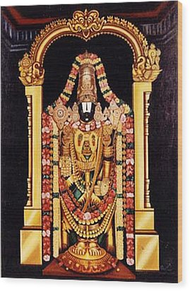 Wood Print featuring the painting The Lord Of Seven Hills by Ragunath Venkatraman
