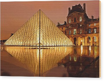 The Louvre By Night Wood Print by Ayse Deniz