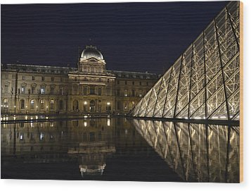 The Louvre Palace And The Pyramid At Night Wood Print by RicardMN Photography