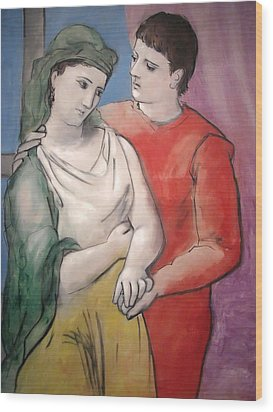 The Lovers Wood Print by Pablo Picasso
