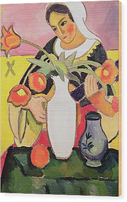 The Lute Player Wood Print by August Macke