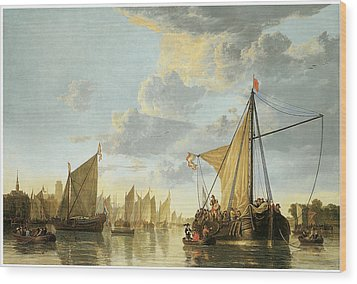 The Maas At Dordrecht Wood Print by Aelbert Cuyp