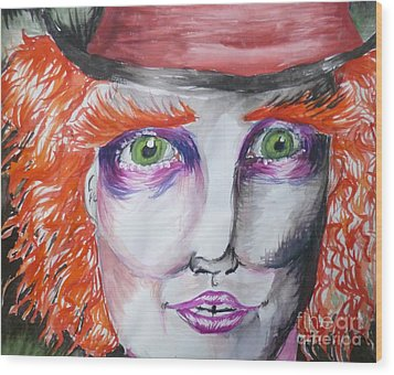 The Mad Hatter Wood Print by Isobelle Rothery-Smith