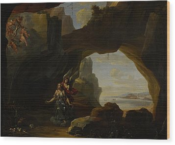 The Magdalen In A Cave Wood Print by Johannes Lingelbach