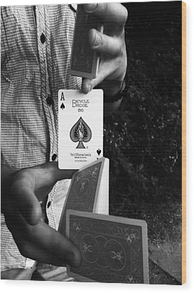 The Magic Card Wood Print by Lucy D