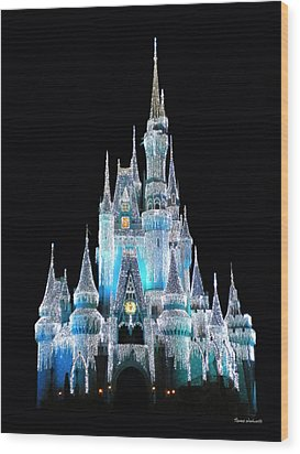 The Magic Kingdom Castle In Frosty Light Blue Walt Disney World Wood Print by Thomas Woolworth