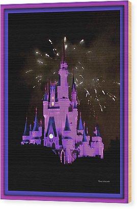 The Magic Kingdom Castle In Violet Walt Disney World Fl Wood Print by Thomas Woolworth