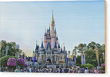 The Magic Kingdom Castle On A Beautiful Summer Day Horizontal Wood Print by Thomas Woolworth