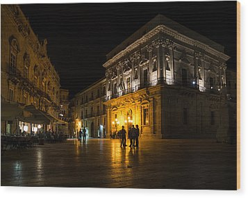 Wood Print featuring the photograph The Magical Duomo Square In Ortygia Syracuse Sicily by Georgia Mizuleva