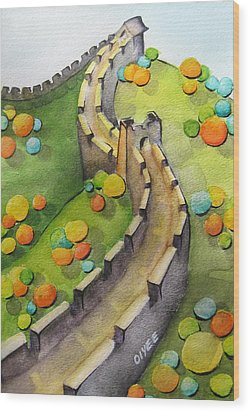 The Magical Great Wall Wood Print by Oiyee At Oystudio