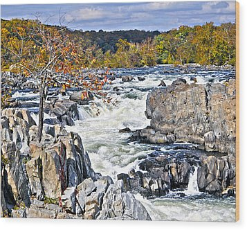 The Magnificent Autumn Waterfall Wood Print by Leslie Cruz