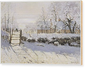 The Magpie Snow Effect Wood Print by Claude Monet