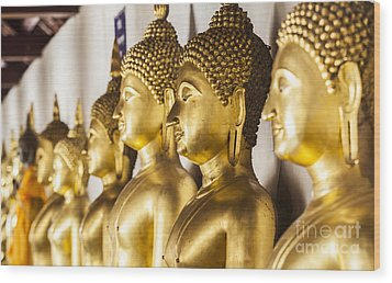 The Main Hall Of Wat Thardtong With Golden Buddha Statue Wood Print by Anek Suwannaphoom