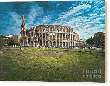 The Majestic Coliseum - Rome Wood Print by Luciano Mortula