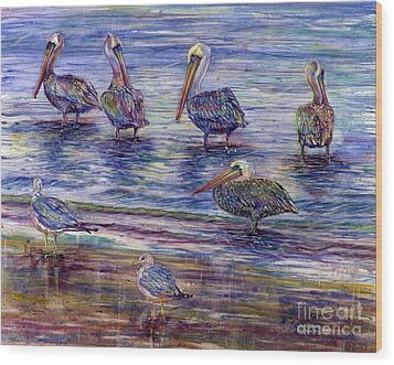 The Majestic Pelican Visit Wood Print