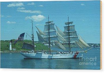 The Majestic Us Coast Guard Wood Print by John Malone