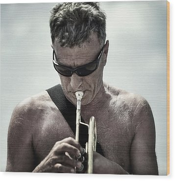 The Man His Trumpet And The Sea Wood Print by Michel Verhoef