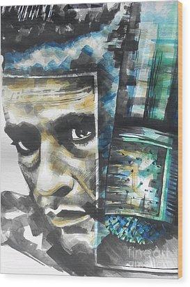 The Man In Black  Singer Johnny Cash Wood Print by Chrisann Ellis