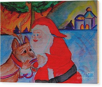 The Man In The Red Suit And A Red Nosed Reindeer Wood Print by Helena Bebirian