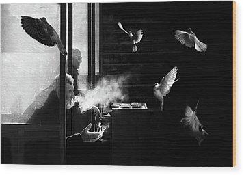 The Man Of Pigeons Wood Print
