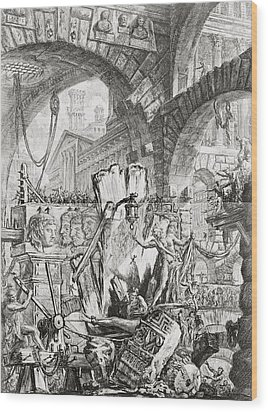 The Man On The Rack Plate II From Carceri D'invenzione Wood Print by Giovanni Battista Piranesi