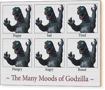 The Many Moods Of Godzilla Wood Print by William Patrick