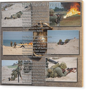The Marine Corp Hymn Wood Print by Thomas Woolworth