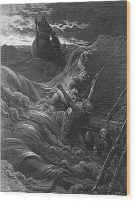 The Mariner As His Ship Is Sinking Sees The Boat With The Hermit And Pilot Wood Print by Gustave Dore