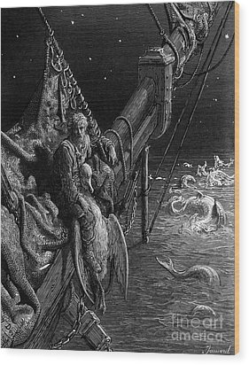 The Mariner Gazes On The Serpents In The Ocean Wood Print by Gustave Dore