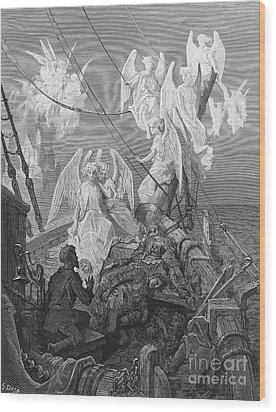 The Mariner Sees The Band Of Angelic Spirits Wood Print by Gustave Dore