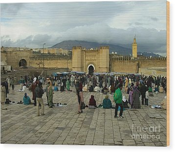 The Market In Fez Wood Print by Sophie Vigneault