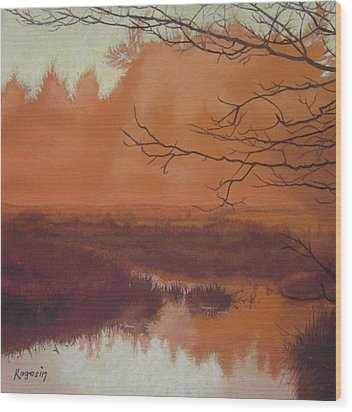 The Marsh Before The Sun Breaks Wood Print by Harvey Rogosin