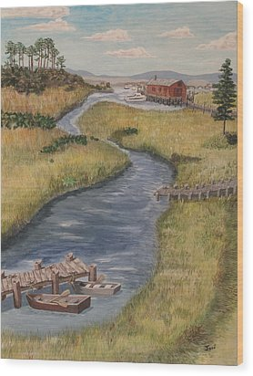 The Marshes Wood Print by Hilda and Jose Garrancho