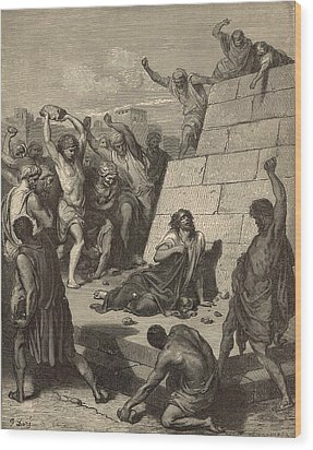 The Martyrdom Of St. Stephen Wood Print by Antique Engravings