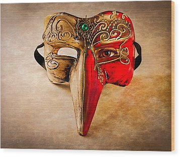 The Mask On The Floor Wood Print by Bob Orsillo