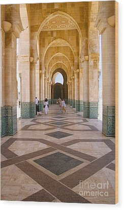 Wood Print featuring the photograph The Massive Colonnades At The Hassan II Mosque Sour Jdid Casablanca Morocco by Ralph A  Ledergerber-Photography