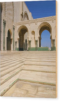 Wood Print featuring the photograph The Massive Colonnades Leading To The Hassan II Mosque Sour Jdid Casablanca Morocco by Ralph A  Ledergerber-Photography